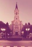 Vue de soirée à la tour de commandant d'Esglesia à Barcelone Images libres de droits