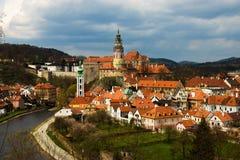 Vue de source de Cesky Krumlov. République Tchèque Images stock