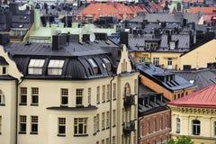 Vue de Stockholm, toits, greniers, fenêtres Photo stock