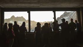 Vue de stupéfaction de glacier d'Aletsch de fenêtre image libre de droits