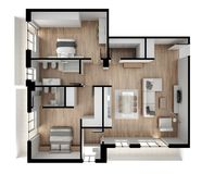 Vue de surface plane d'appartement, meubles et décors, plan, conception intérieure en coupe, idée de concept de concepteur d'arch Photos libres de droits