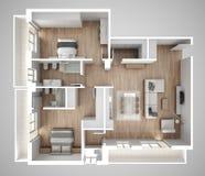 Vue de surface plane d'appartement, meubles et décors, plan, conception intérieure en coupe, idée de concept de concepteur d'arch Images stock