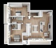 Vue de surface plane d'appartement, meubles et décors, plan, conception intérieure en coupe, idée de concept de concepteur d'arch Images libres de droits