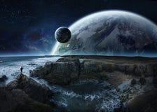 Vue de système éloigné de planète des éléments de rendu des falaises 3D illustration libre de droits