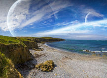Vue de système éloigné de planète des falaises Photographie stock