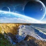 Vue de système éloigné de planète des falaises Images libres de droits