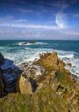 Vue de système éloigné de planète des falaises Image libre de droits