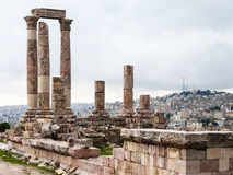 Vue de temple de ville de Hercule et d'Amman Photo stock