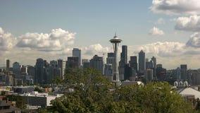 Vue de temps de jour de l'aiguille et de Seattle de l'espace images stock