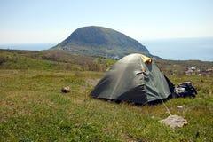 Vue de tente près de mer Photographie stock libre de droits
