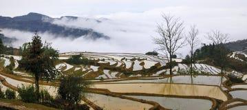 Vue de terrasse de la Chine Yunnan Hani images libres de droits