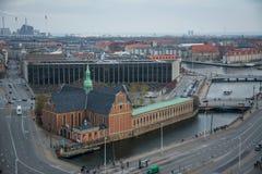 Vue de tour de château de Christiansborg Centre-ville de Copenhague denmark photos stock