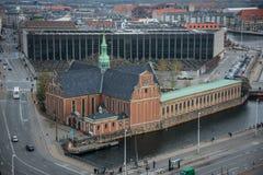 Vue de tour de château de Christiansborg Centre-ville de Copenhague denmark image libre de droits