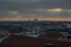 Vue de tour de château de Christiansborg copenhague denmark images libres de droits