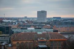 Vue de tour de château de Christiansborg copenhague denmark photographie stock