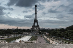 Vue de Tour Eiffel de l'endroit du Trocadero Photos libres de droits
