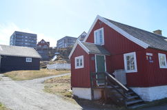 Vue de touristes de Nuuk, capitale du Groenland Photos stock