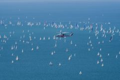 Vue de Trieste Italie le 8 octobre 2017 - de la course de Barcolana photo stock