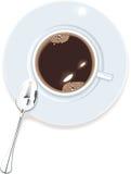 vue de vecteur de dessus de cuvette de café Photo stock