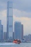 Vue de Victoria Harbour de côté de Kowloon Image libre de droits