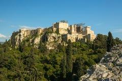 Vue de vieille Acropole de ville La construction a commencé dans 447 AVANT JÉSUS CHRIST dans l'empire athénien Image stock