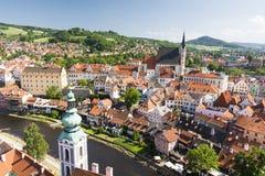 Vue de vieille ville de Bohème Cesky Krumlov, République Tchèque Photo stock