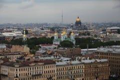 Vue de vieille ville européenne de taille du vol de l'oiseau St Petersbourg, Russie, Europe du Nord Photographie stock libre de droits