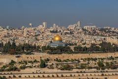 Vue de vieille ville de Jérusalem et de l'Esplanade des mosquées, Jérusalem images libres de droits