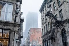Vue de vieux Montréal, Québec, Canada, sous la neige Image stock