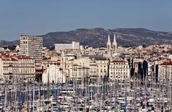 Vue de vieux port vers Marseille, France images libres de droits