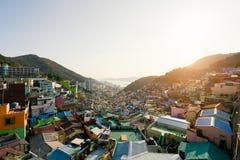 Vue de village de culture de Gamcheon à Busan, Corée du Sud images libres de droits