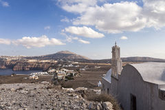 Vue de village d'Akrotiri, Santorini Photo libre de droits
