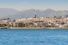 Vue de village d'Alicante Javea de la mer Méditerranée Images libres de droits