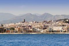 Vue de village d'Alicante Javea de la mer Méditerranée Photographie stock libre de droits