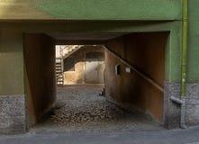 Vue de village d'une entrée dans Runkel photo libre de droits