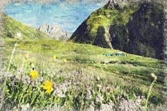 Vue de village de Juta près de montagne de Caucase, la Géorgie Digital AR illustration libre de droits