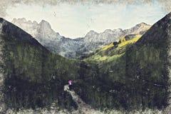 Vue de village de Juta près de montagne de Caucase, la Géorgie Digital AR illustration stock
