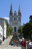 Vue de ville Angers avec la cathédrale historique Images stock