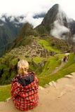 Vue de ville antique d'Inca de Machu Picchu Photographie stock libre de droits