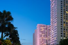 Vue de ville avec les immeubles modernes et ligne d'arbre au crépuscule Images libres de droits