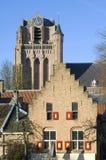 Vue de ville avec St John historique Baptist Church Image stock