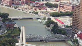 Vue de ville de Changha? avec plusieurs ponts r?partissant une rivi?re, Changha?, Chine banque de vidéos