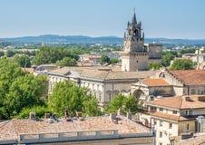 Vue de ville d'Avignon de palais papal photos stock