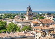 Vue de ville d'Avignon de palais papal images libres de droits