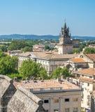 Vue de ville d'Avignon de palais papal photo stock