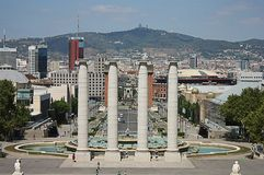 Vue de ville de Barcelone de palais national Images stock