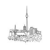 Vue de ville de Berlin Horizon célèbre de bâtiments de ville de Berlin de fond de l'Allemagne de voyage Images stock