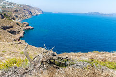 Vue de ville de Fira - île de Santorini, Crète, Grèce Images libres de droits