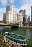 Vue de ville de fleuve de Chicago Images libres de droits