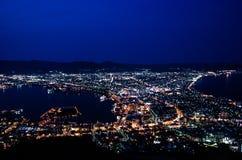 Vue de ville de Hakodate la nuit images stock